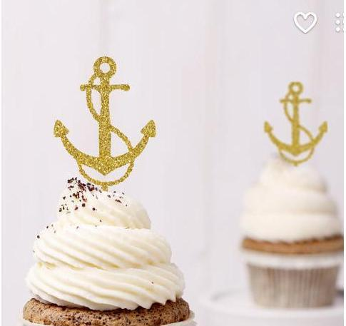 Custom 30pcs Glitter Anchor Cupcake Toppers Food Picks Bachelor Bachelorette nautical Wedding Bridal Engagement Lingerie Party Decoration