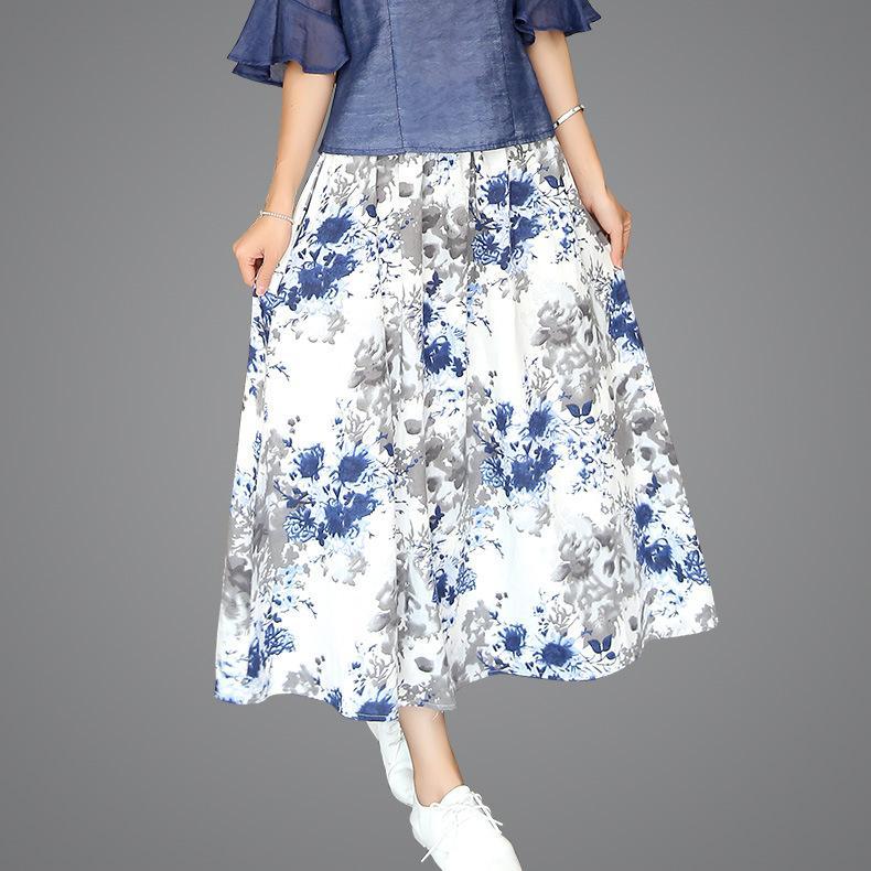 인쇄 된 pleated skirt 보헤미안 큰 펜던트 긴 섹션 여름 치마 새로운 면화와 리넨 하이 웨스트 꽃 퍼프 스커트