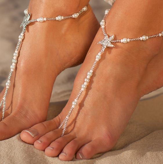 Europa und die Vereinigten Staaten Strass Starfish Perle Füße elastische Fußkettchen Braut Füße Schmuck