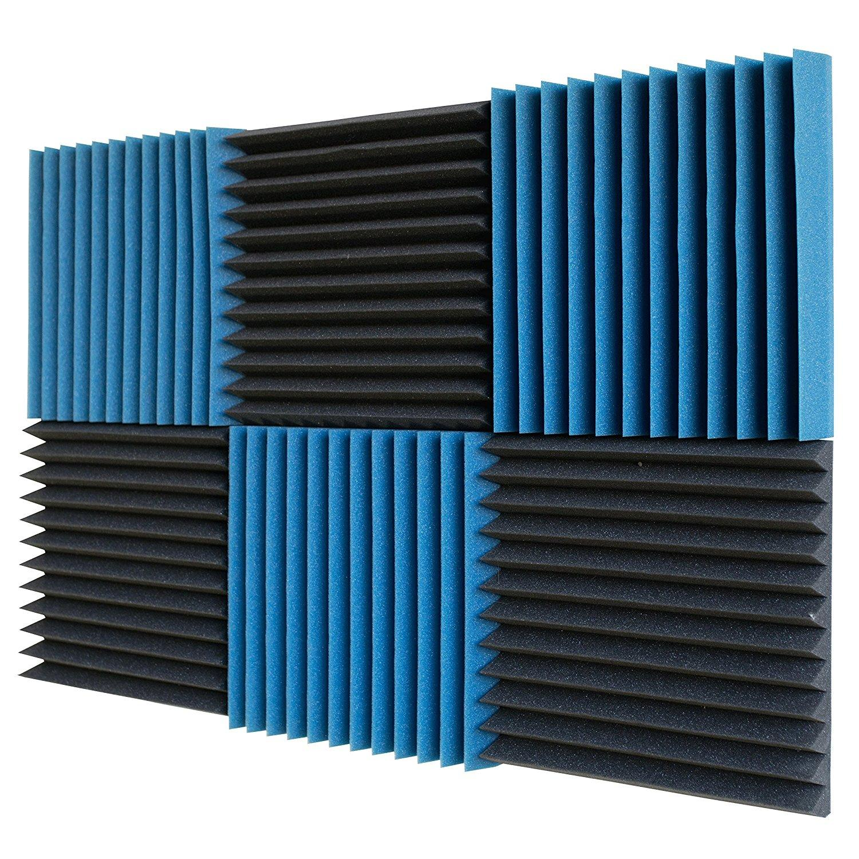 6 шт-лед синий / древесный уголь акустическая пена звукопоглощение студия лечение стеновые панели 30 х 30 х 5 см