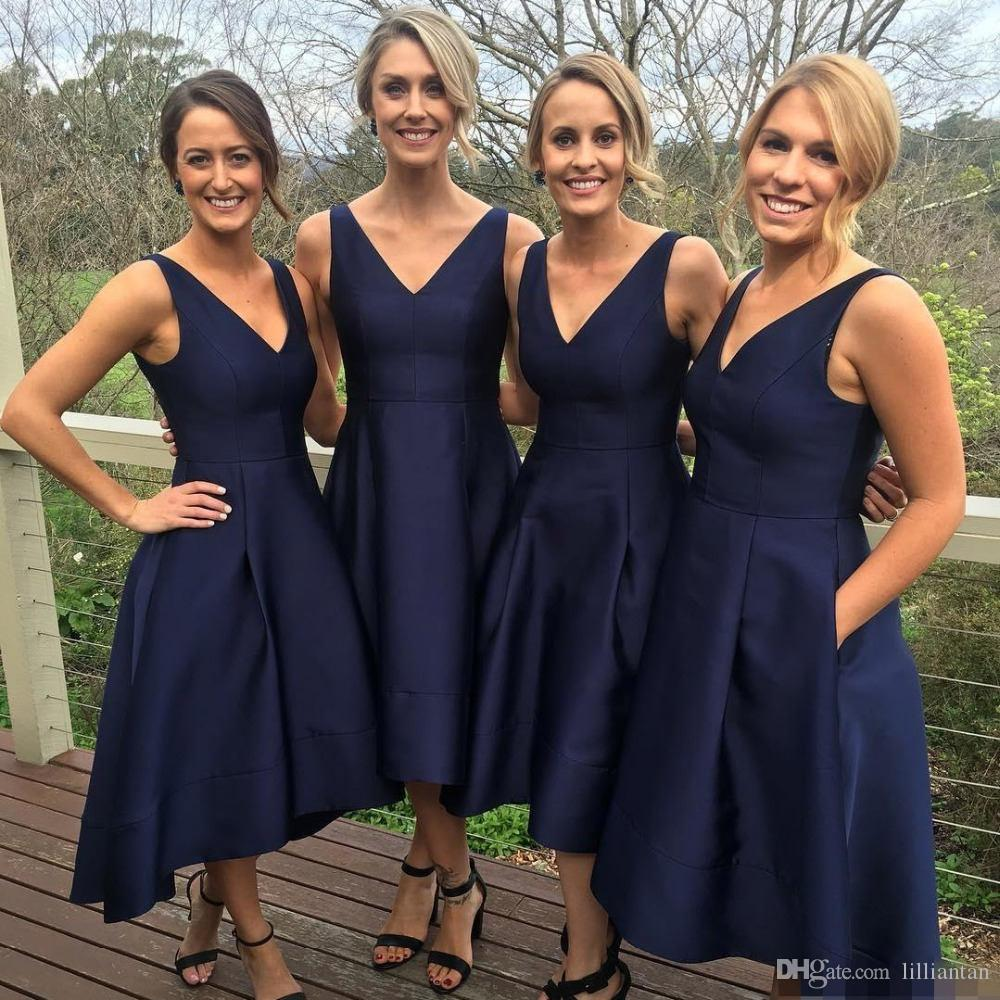 Simple Dark Navy Blue Bridesmaid Dresses Tea Length Short Wedding Evening Party Gowns Party Dresses V Neck Custom Made Wedding Guest Dresses Unique Bridesmaids Dresses Watermelon Bridesmaid Dresses From Lilliantan 90 46 Dhgate Com,Wedding Guest Fancy Pakistani Maxi Dresses For Party