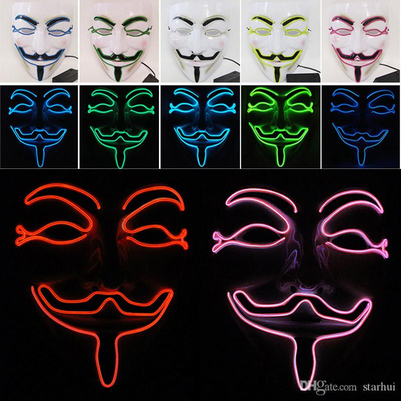 New LED Halloween Masks V Word Hatred Mask EL Wire Glowing Mask Masquerade Full Face Masks Halloween Costumes Party Gift WX9-58
