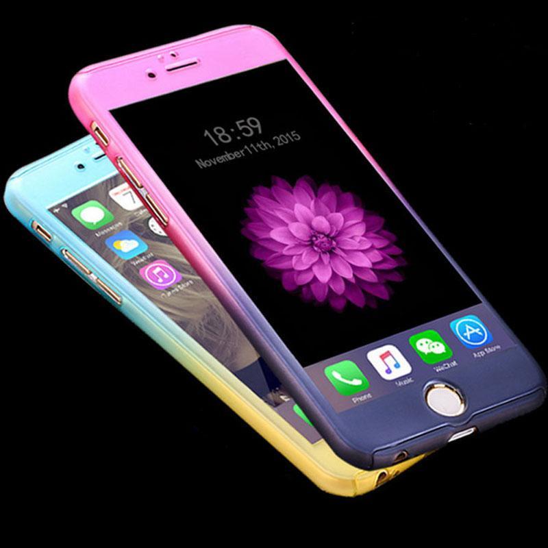 جديد التدرج الملونة 6 6 ثانية زائد حالة 360 درجة بارد واقية كاملة ل فون 6 6 ثانية 7 زائد غطاء الهاتف كوكه مع الزجاج المقسى