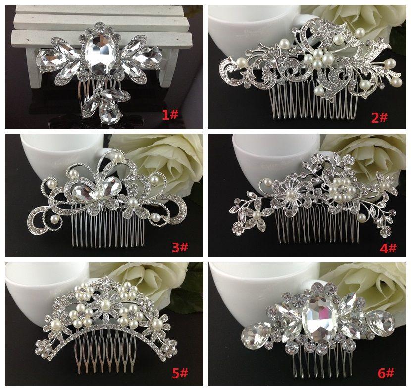 Mariage de mariée Tiaras Superbes peignage raffiné Bijoux de mariée Accessoires Cristal Pearl Cheveux Brosse PromogeFly Pince à cheveux pour la mariée