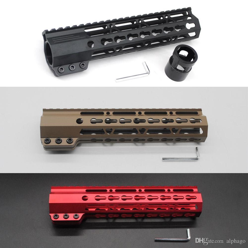 """9 """"클램핑 슬림 Keymod 핸드 가드 무료 Float Picatinny 레일 마운트 시스템 블랙 / 탄 / 레드 컬러 적합 .223 / 5.56 라이플 AR-15 / M4 / M16"""
