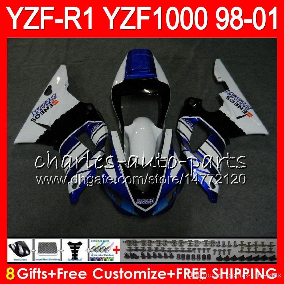 8Gift 23Color corporal para YAMAHA YZF1000 YZFR1 98 99 00 01 YZF-R1000 61HM12 YZF 1000 R 1 YZF-R1 azul blanco YZF R1 1998 1999 2000 2001 Carenado
