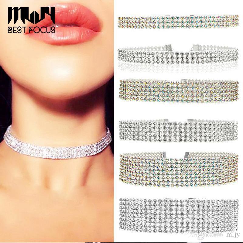 MLJY Çoklu katmanlar Kristal Gerdanlık Kolye Kadınlar için Yeni Bijoux Maxi Bildirimi Kolyeler Collier Moda Takı