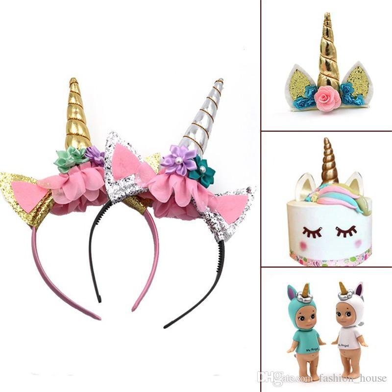 Moda Magiczne Dziewczyny Dzieci Dekoracyjne Unicorn Horn Head Fancy Party Hair Headband Fancy Dress Cosplay Costume Biżuteria Prezent A08