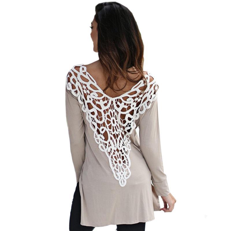 Wholesale-2016 İlkbahar Yaz Seksi T Gömlek Dantel Tığ Kadın T Gömlek artı Boyutu Rahat Uzun Kollu Backless T Gömlek Kadınlar Için Tops poleras