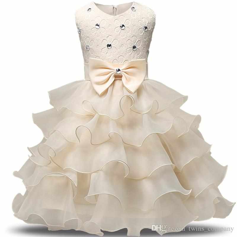 2017 أزياء الفتيات فستان زفاف الأميرة اللباس الشتاء الرسمي الكرة زهرة الاطفال ملابس الأطفال ملابس حزب فتاة فساتين