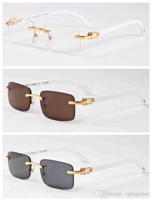 2020 New Fashion Bamboo Wood Rimless Sunglasses Men White Buffalo Horn Glasses Women Mens Sports Sunglasses With Box Case Lunettes