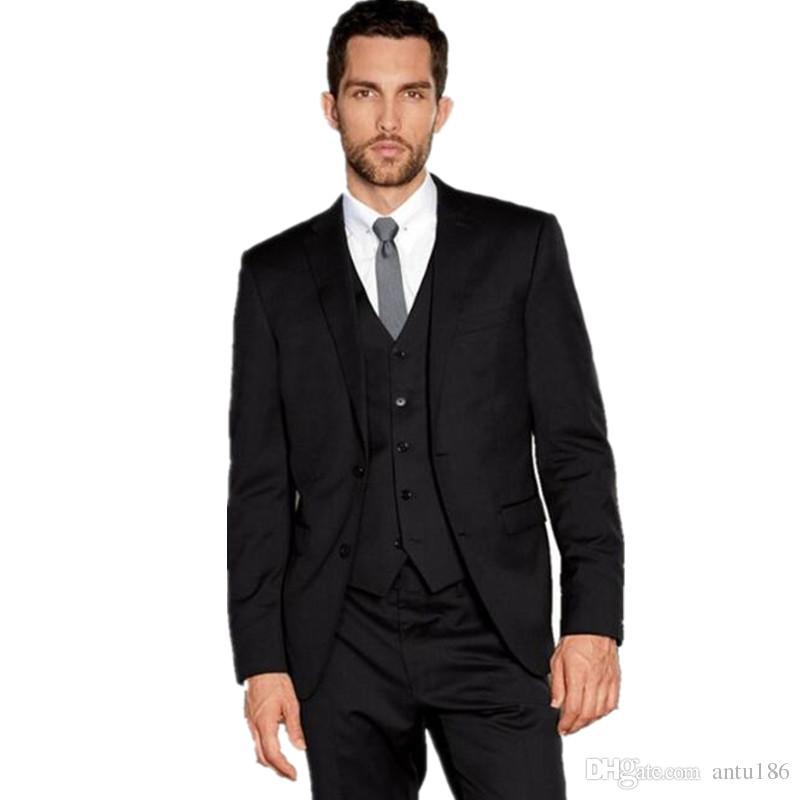 Siyah Erkekler Düğün Suit smokin son coatand pantolon tasarım Resmi Elbise Iş Takım Elbise terzi Damat takımları Smokin (ceket + pantolon + yelek)