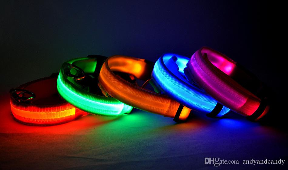 7 Color S M L Size Glow LED Dog Pet Cat Collar Flashing Light Up Nylon Band Belt Puppy Night Safety Adjustable Luminous Collars Supplies