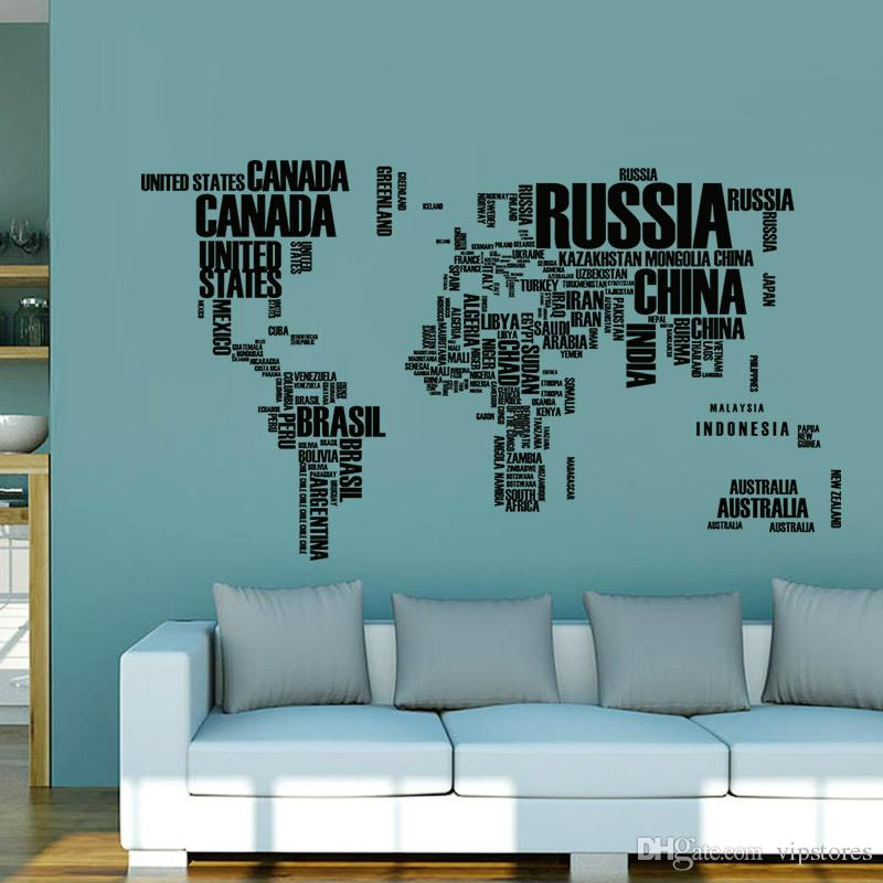 3 colors letter world map wall stickers decorative world map letter world map wall stickers decorative world map murals home office art wall sticker decals diy gumiabroncs Image collections