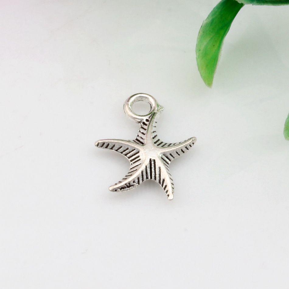 Vente chaude ! 300 pcs vieilli argent zinc alliage étoile de mer 3D Charms pendentifs 13 mm x 17 mm bricolage bijoux A-033