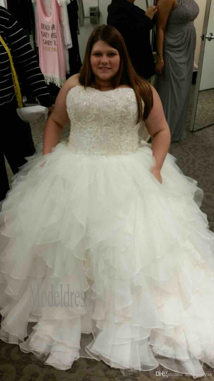 New Oleg Cassini Organza Ruffle Skirt Wedding Dresses Sweetheart ...