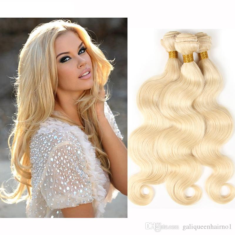 Brazilian Body Wave Straight Hair Weaves Double Wefts 100g/pc 613 Russian Blonde Color Can be Dyed Human Remy Hair Extensions