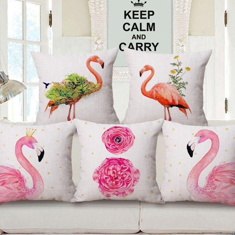 فلامنغو وسادة الديكور غطاء مشرق الوردي الاستوائية الطباعة كرسي كرسي رمي سادة القضية الحيوانات البرية زارة الداخلية almofada