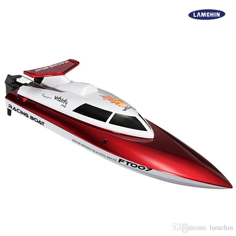 FT007 2.4G 4CH سباق العالي السرعة انقلبت RC قارب التحكم عن بعد سبيد قارب تبريد مع السرعة 25 كيلومتر / ساعة