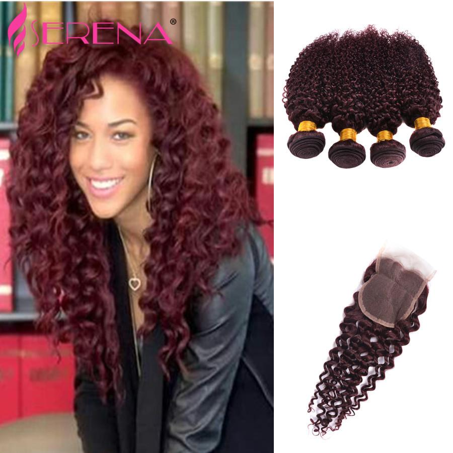 99j Brazilian Hair With Closure Tissage Bresilienne Avec Closure Couleur 1 Day Delivery 99j Bundles Wine Red Burgundy Weft Weaves 4x4 Lace