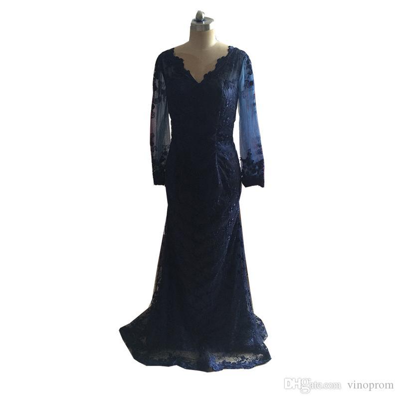 Vinoprom Real Photo Robe De Soiree 2018 Nouveaute maniche lunghe abito da sera in pizzo blu scuro abito da sera formale