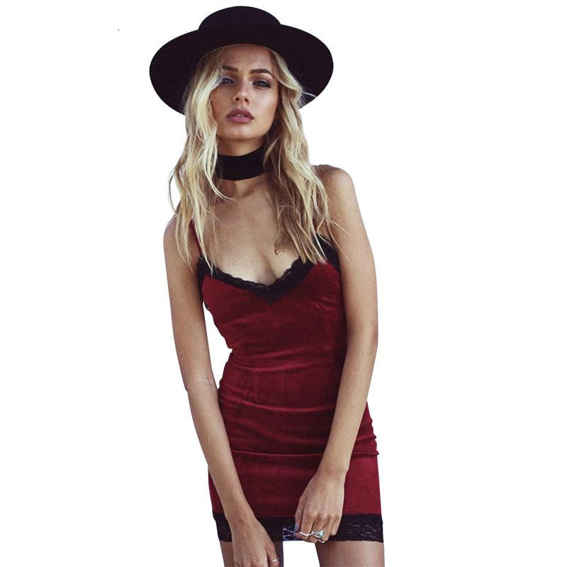 Abito corto in velluto da donna Vestito aderente in sexy pizzo grigio Abito elegante mini abito rosso con scollo all'uncinetto
