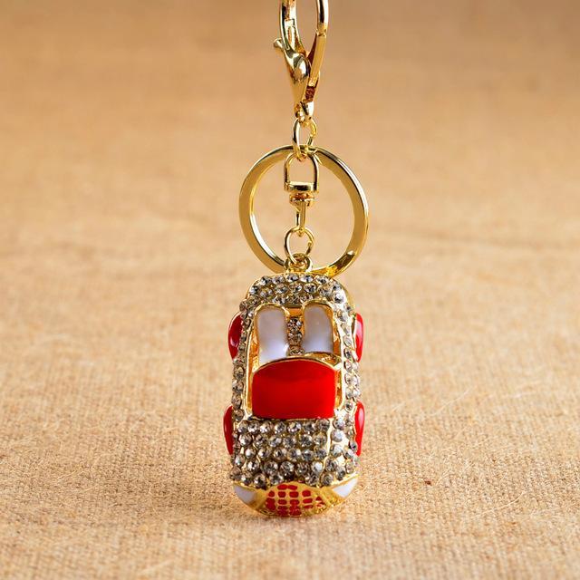 High-Grade Zinc Alloy Cute Gold color Car Charm Creative Gift Rhinestone Metal Keychain,Fashion Bag Pendant Key Chain Jewelry