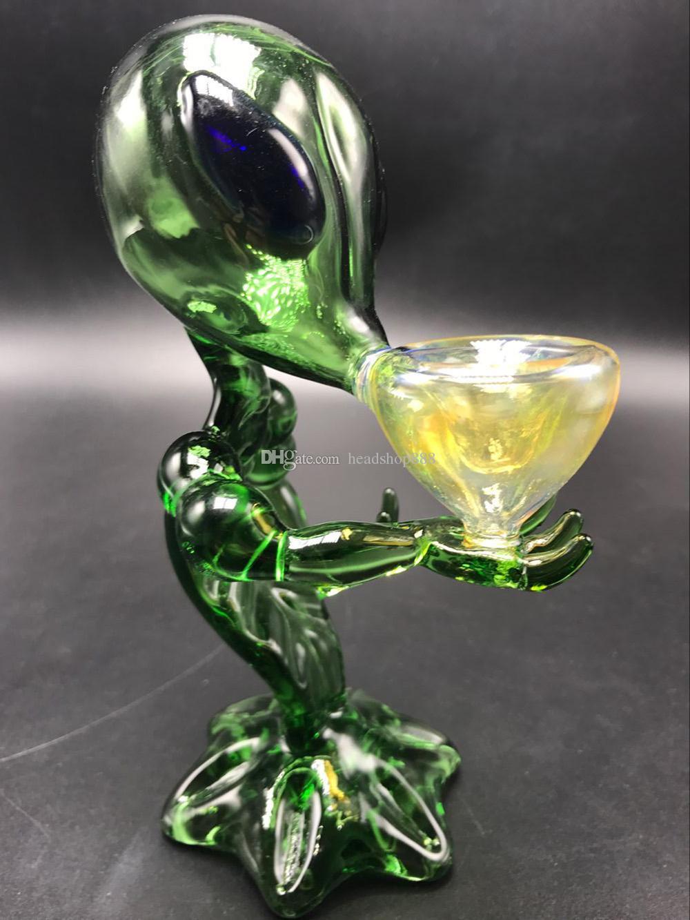 "Alien verre Pipe Pipes 6,69"" pouces vert point G Pipes Smoking Alien verre huile Rig Pipe en verre cuillère"