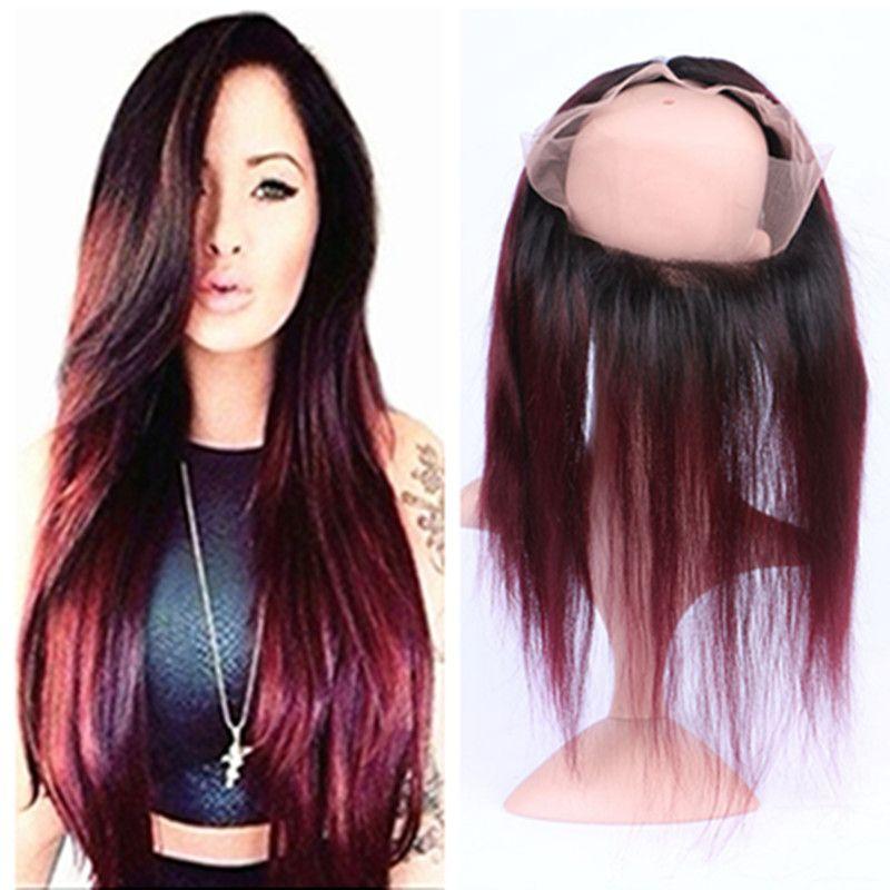 Dark Root Ombre Color Borgoña 360 Lace Band Frontal 22.5x4x2Inch T1B / 99J Straight 360 Full Lace Frontal Cierre con el pelo del bebé