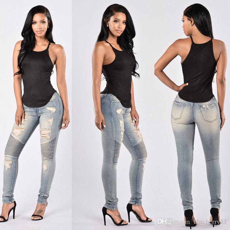 Signore Stretch strappato sexy skinny jeans da donna a vita alta denim slim fit pantaloni denim sottile diritta Biker Skinny jeans strappati formato S-2XL