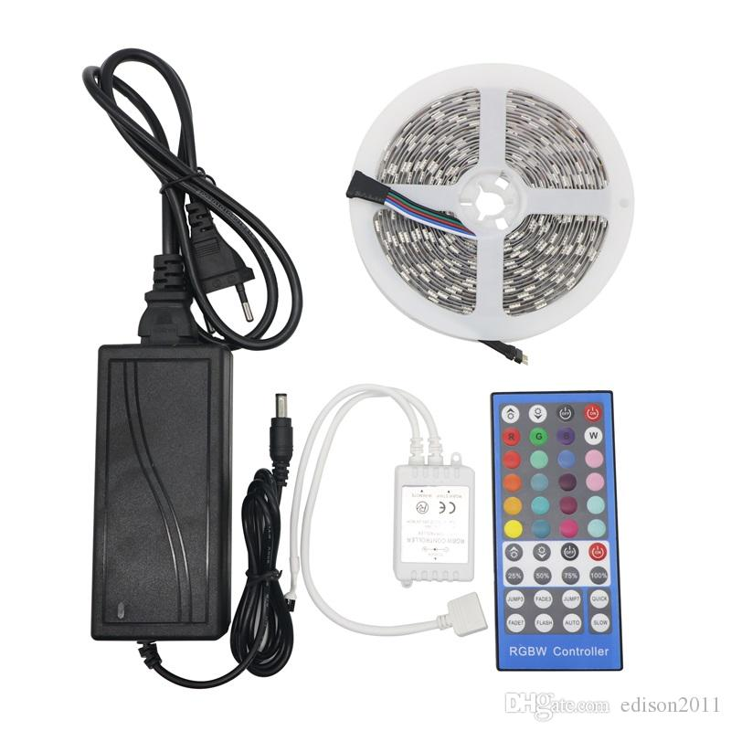 Edison2011 5m 12V SMD 5050 RGBW / RGBWW LED Strip Light Nastro flessibile 60LED / M IP20 non impermeabile + 40key IR Remote Controller + 12V 5A Power