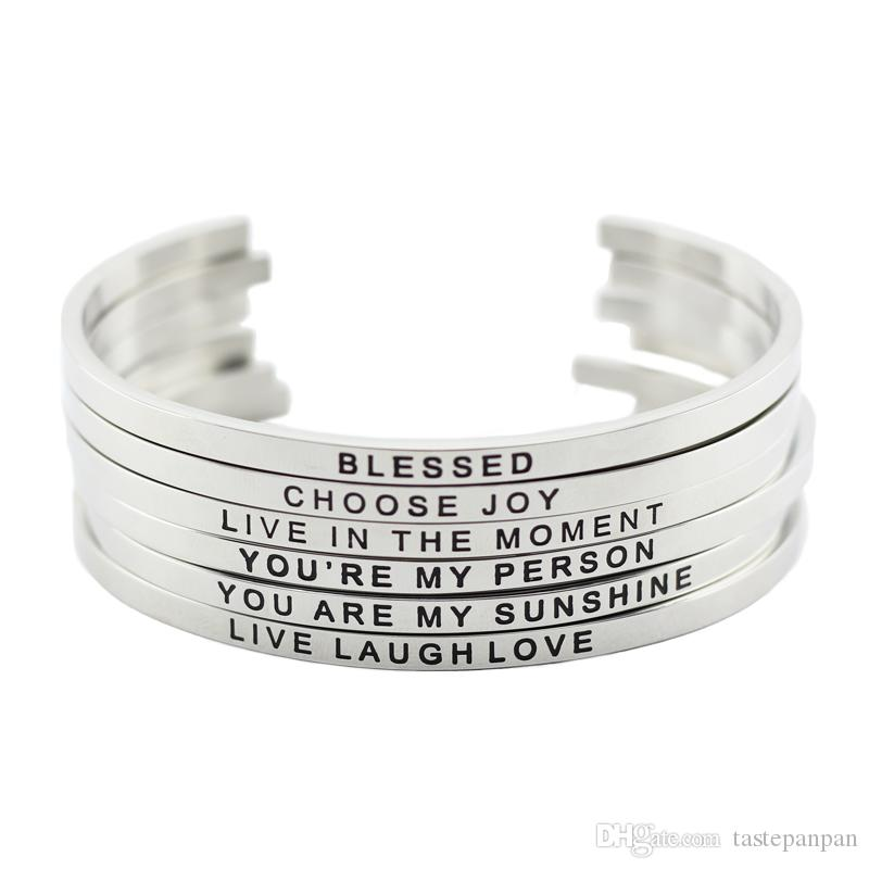 Новое поступление! 316L нержавеющая сталь выгравированная положительная вдохновляющая цитата манжеты мантры браслет браслет для женщин мужчин