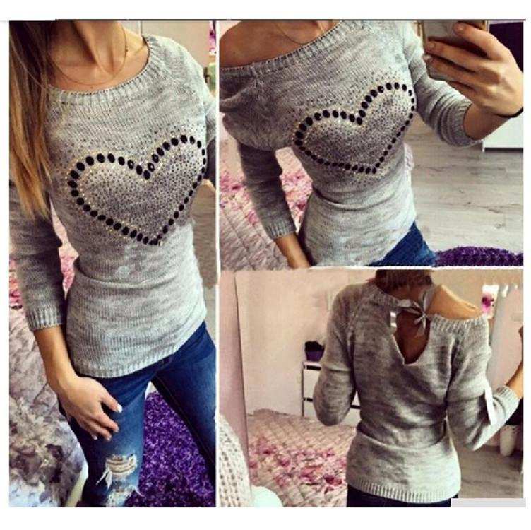 Wholesale-2016 Fashion Women Spring pullover Sweater Long Sleeve Heart Print Love Pattern Thin Casual Knitting Women Fall Pullover Sweater