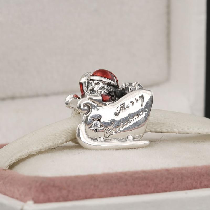 Babbo Natale slitta fascino perline 100% 925 sterling-argento-gioielli chiari simboli bead braccialetti fai da te braccialetti accessori