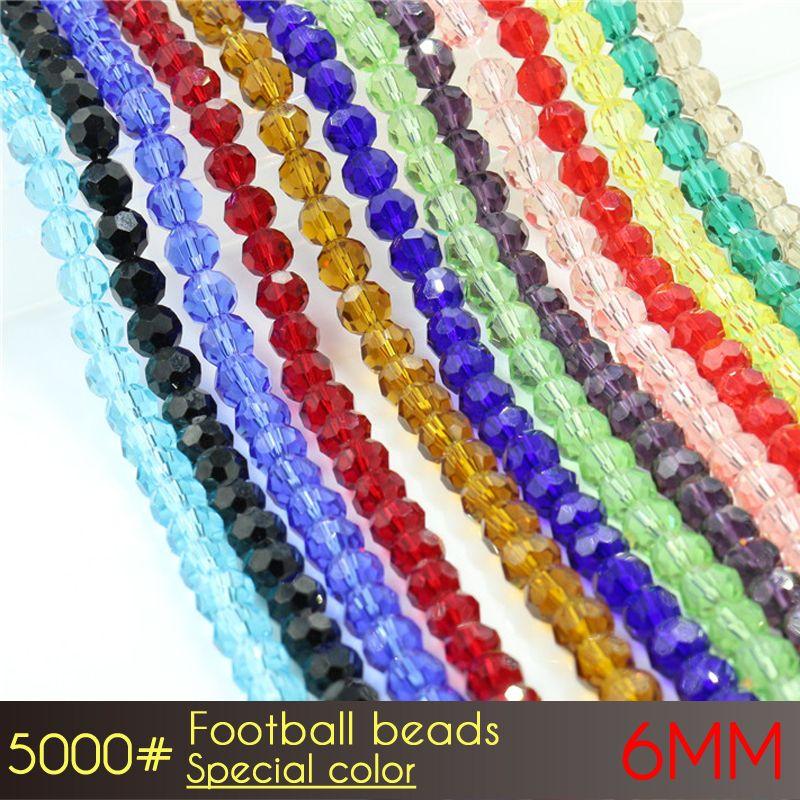 Schmuck lose Glas Kristall Runde Perlen mit kostenlosem Versand Fußball Perlen 6mm Sonderfarben A5000 100pcs / set