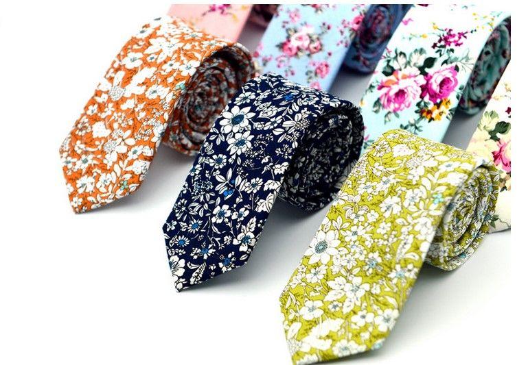 nuevos lazos superiores florales manera del algodón de Paisley corbatas para trajes de hombre Corbatas delgado Vestidos del partido corbata Lazos antiguas impreso Gravatas