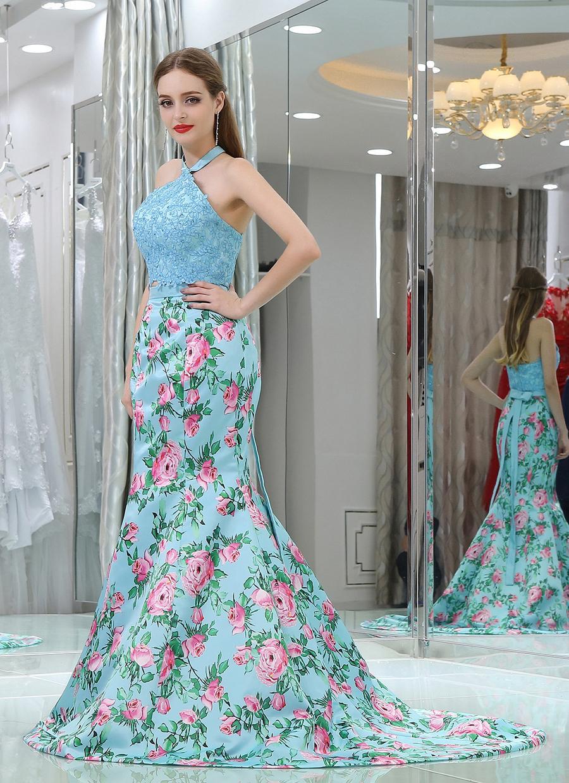 Best Selling Printed Flower Long Evening Dresses 2017 V Neckline ...