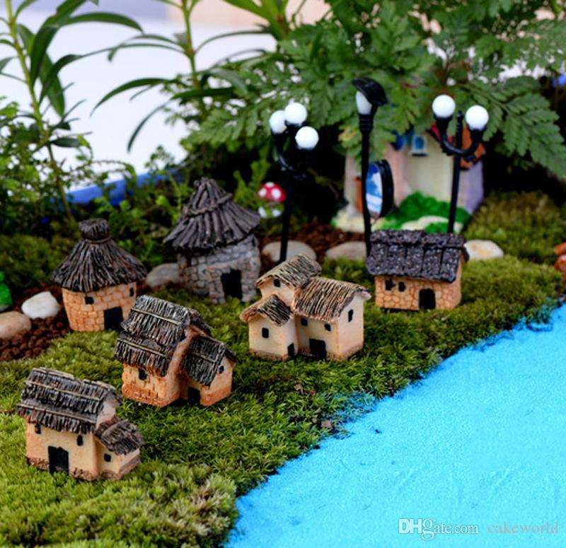 6pcs Retro Vintage House Resina Craft Home Jardin Miniatura Bottiglia di terrario Micro Paesaggio Giardino Decorazione Strumento Decorativo Artificiale