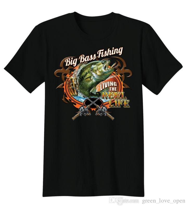 Men's Fashion Big Bass Fishing Living The Reel Life Short Sleeved Funny T Shirts Graphic Tees