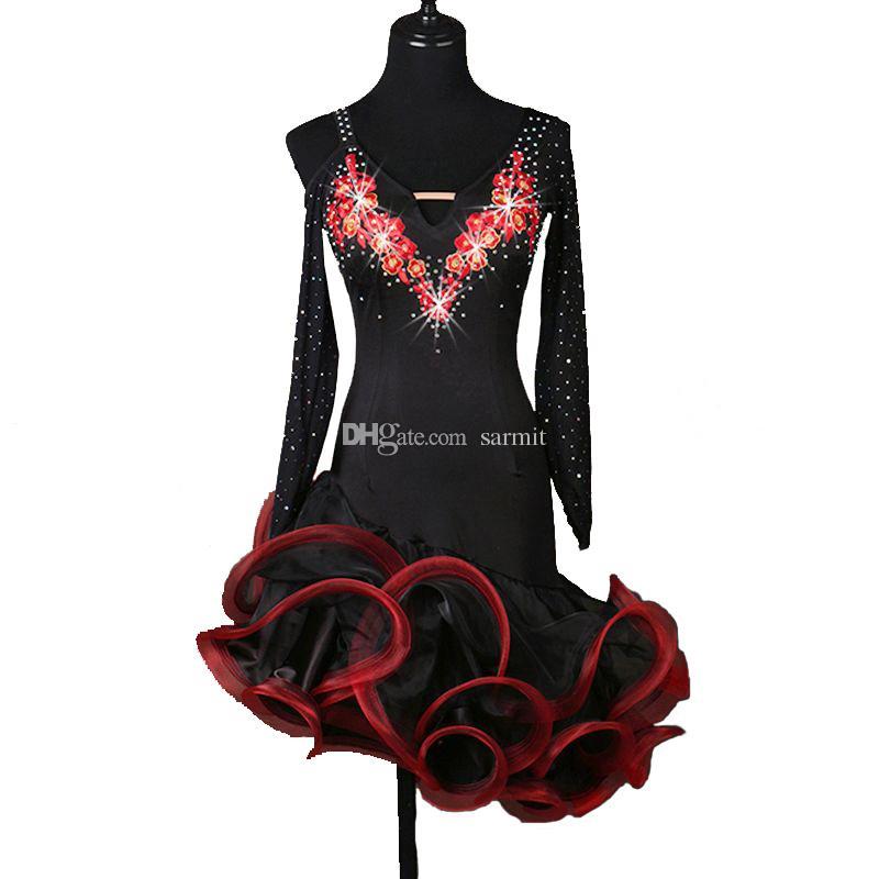 Latin Dance Dress Women Girls Prom Dress Salsa Dance Competition Dresses Tango Ballroom D0132 Rhinestones Applique Fluffy Hem Long Sleeve