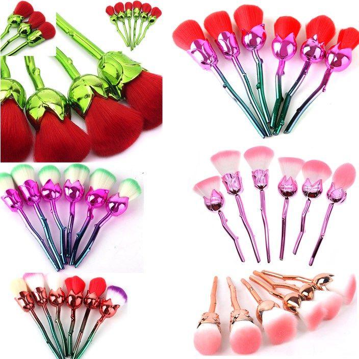 6 Pcs 3D Rose Flower Makeup Brushes Set Foundation Blending Brush Tool Beauty Cosmetic Powder Blush Makeup Brush Tool Make up Brush Kits
