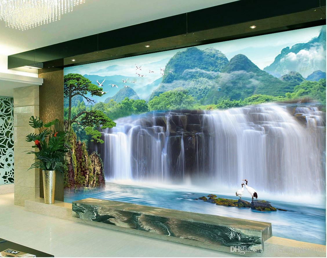 Özel herhangi boyutu Büyük şelale PSD TV zemin duvar 3d duvar kağıtları 3d duvar kağıtları için tv backdrop