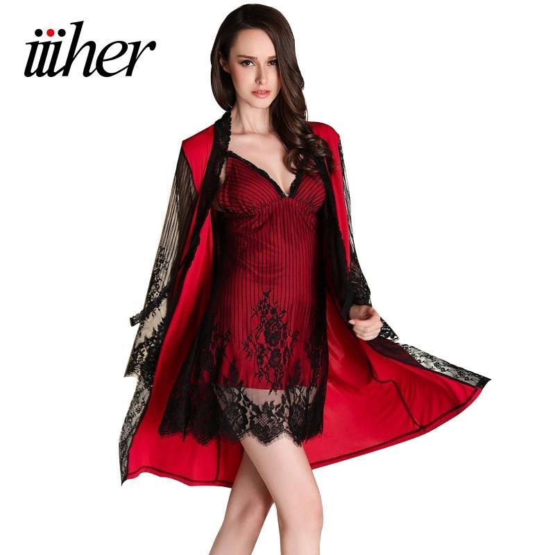 iiiher Atacado Lingerie Mulheres Sexy Set pijamas e Robe Define Roupa de Noite Vestido de seda Robe Ladies Pijamas Camisola Mulheres Cardigans