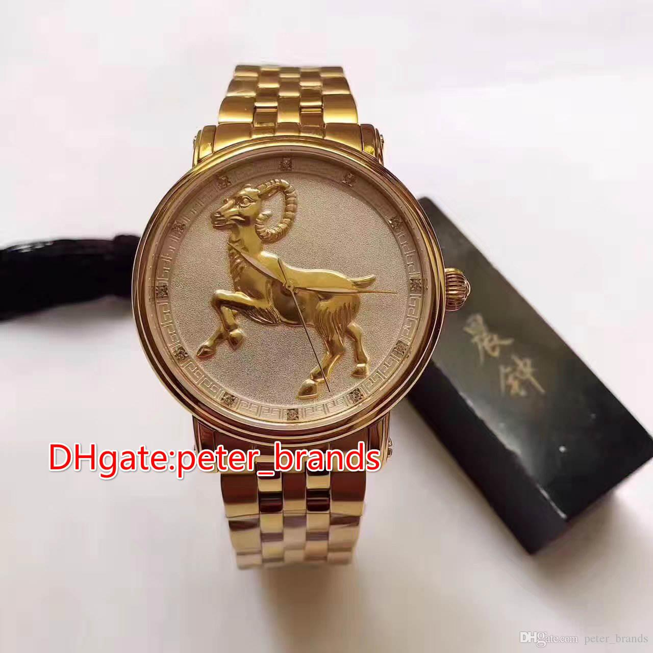 12 zodiac animals with Chinese characteristics horse face full sheep gold case automatic men watch 41mm glass back cover fashion style watch