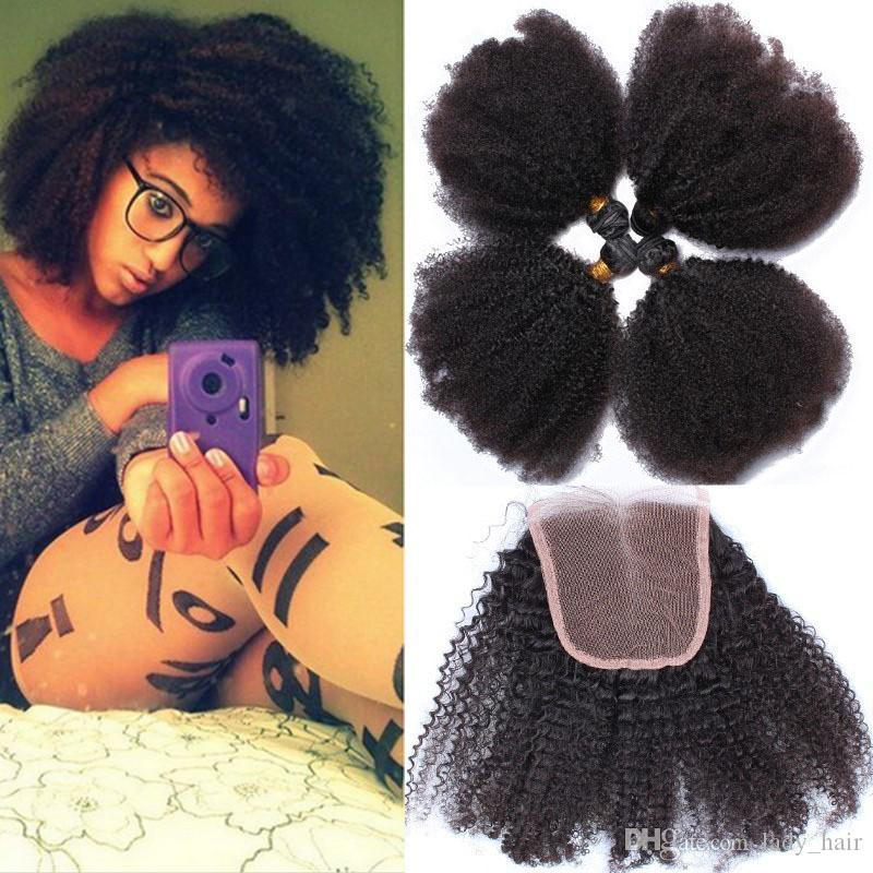 아프리카 곱슬 곱슬 곱슬 4x4 레이스 상단 클로저 번들 4pcs와 함께 처리되지 않은 버진 브라질 인간의 머리카락은 레이스 클로저와 함께 짜다 Afro Curly 5Pcs Lot