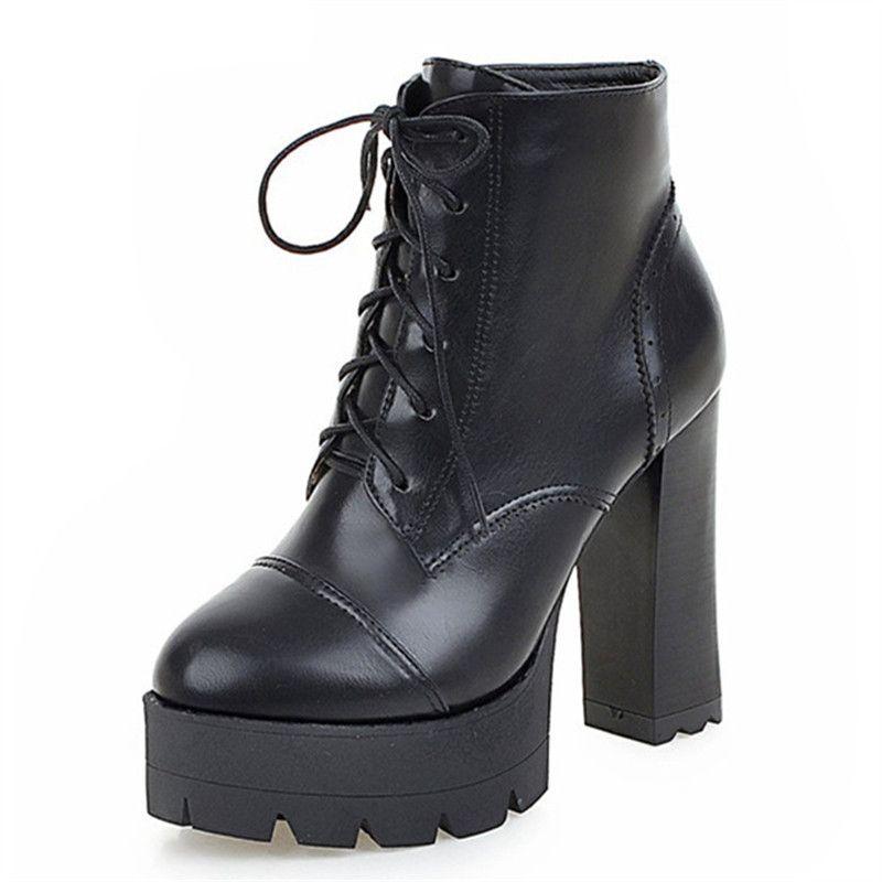 2017 hot sale autumn winter new arrive women boots fashion lace up ladies boots platform ankle boots big size 34-43