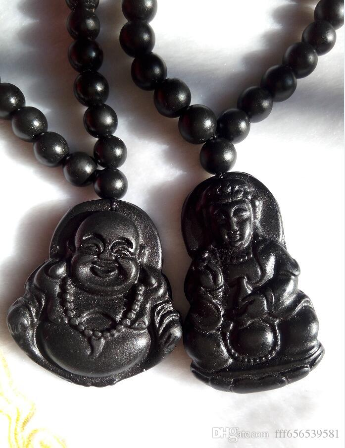 Lumière naturelle noire jade Bouddha Gan-yin pendentif grade jadéite Un couple de fabricants de jade vendant des hommes et des femmes B1