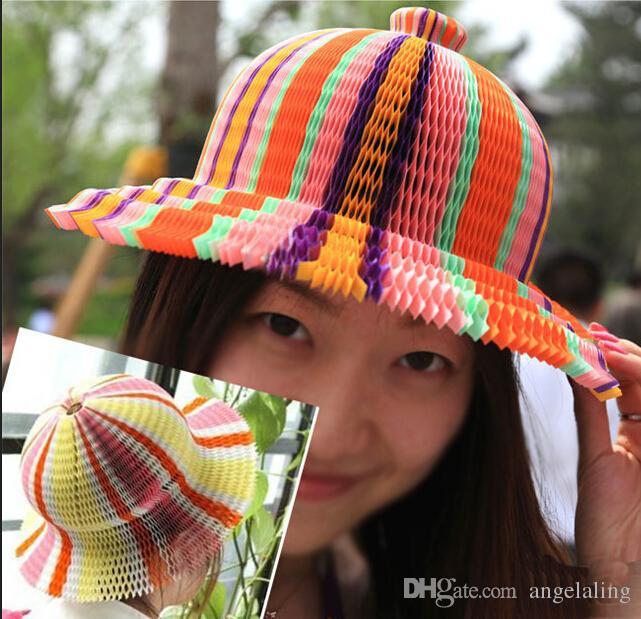 Cappelli monouso berretto a velo da esterno moda cappello da sole forma ondulata e forma S tappi di carta di buona qualità