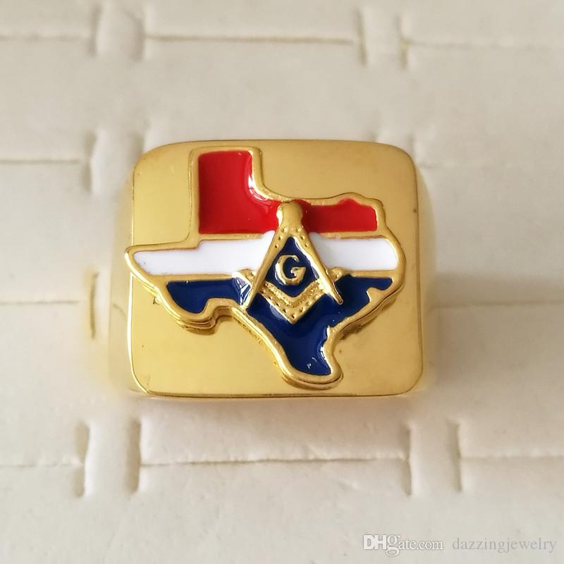Newest high grade quality 316 stainless steel USA Texas State freemaoson masonic rings gold US free mason jewelry for men