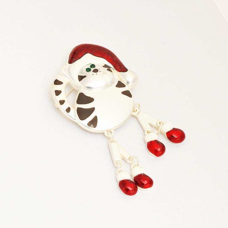 Venda por atacado - Venda quente flor vermelha de cristal de Natal boneco de neve broches pinos para mulheres bom presente
